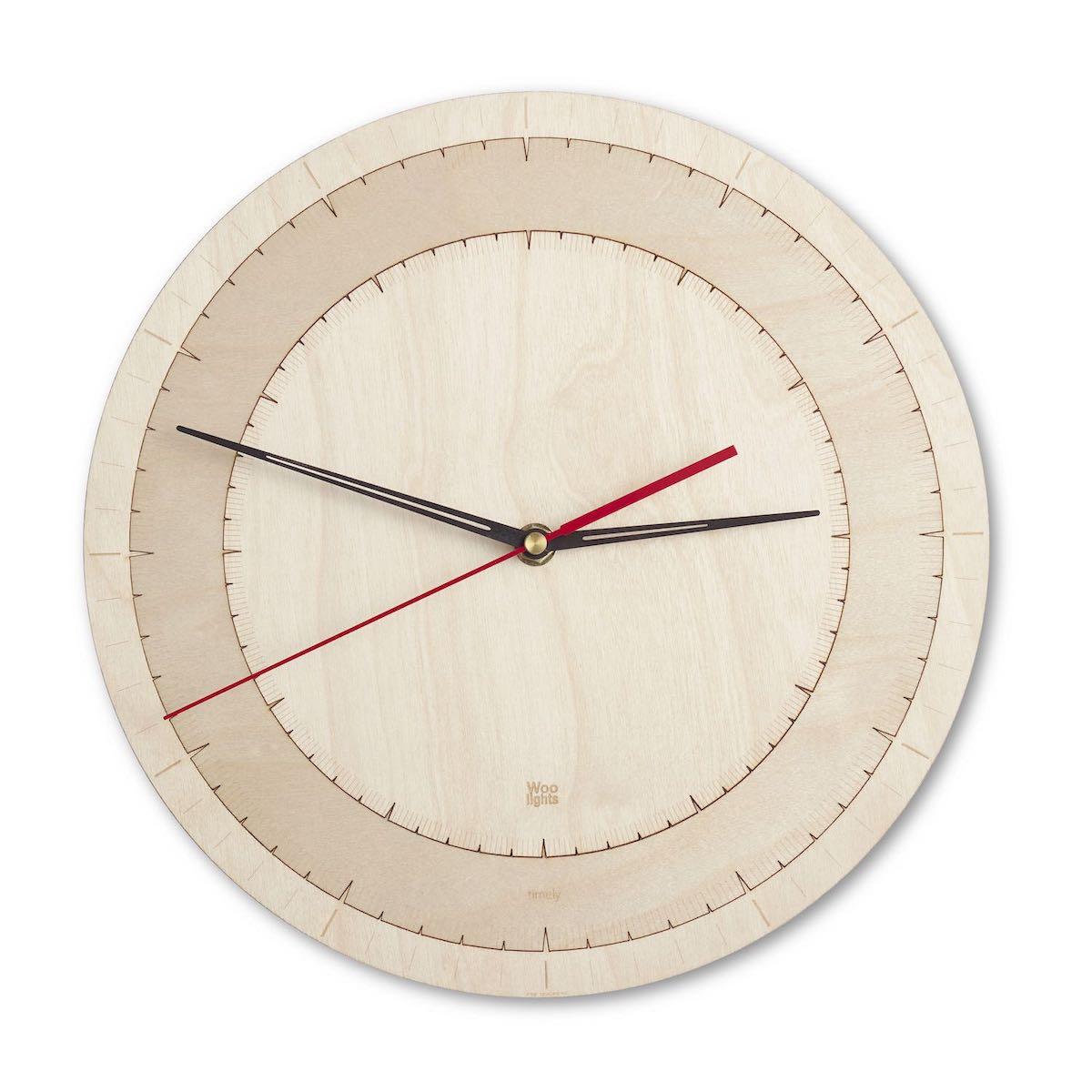 Nowoczesny zegar drewniany z sekundnikiem N˚ 14